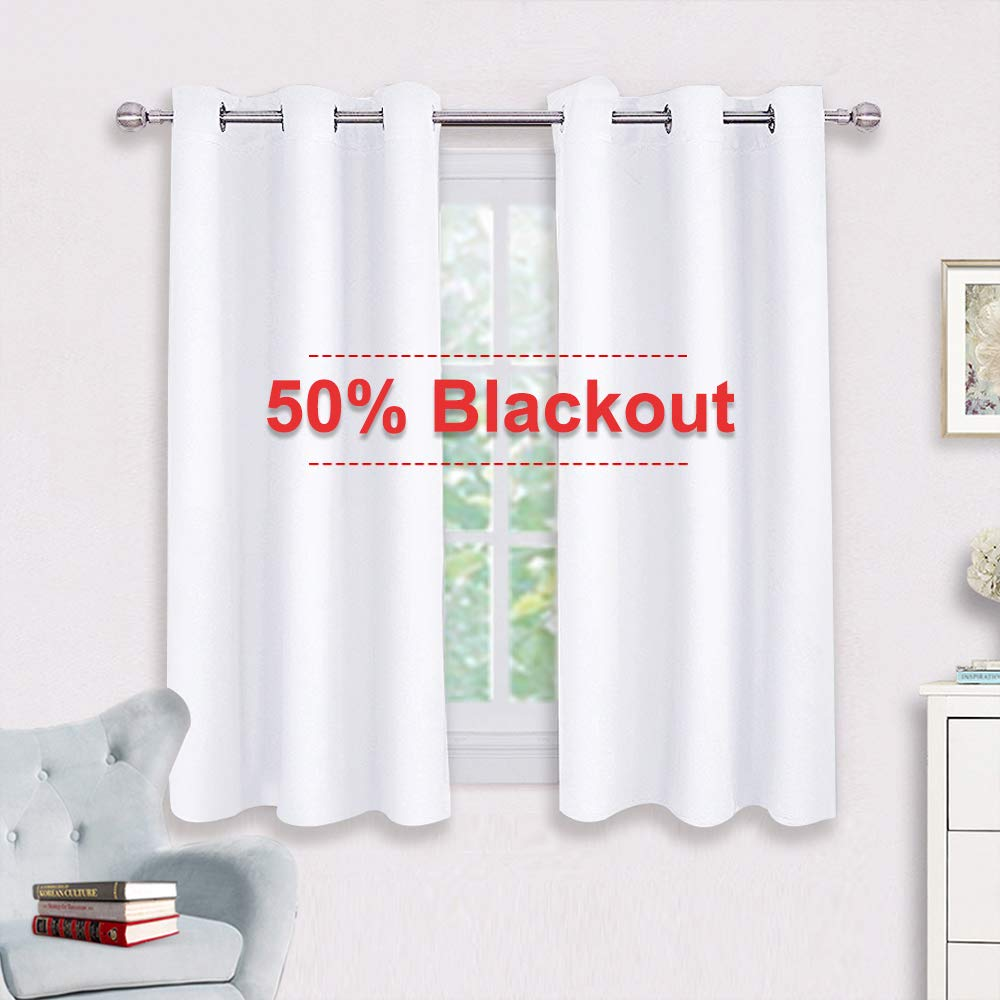 NICETOWN Curtain Panels for Bedroom - Home Decoration Solid Grommet Draperies/Drapes, Not Blackout Window Curtains for Kitchen (2 Panels, 42 by 54, White)