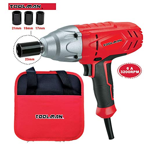Toolman Corded Impact Wrench 1/2″ 6A 3200 RPM with 4pcs sockets for Heavy Duty works with DeWalt Makita Ryobi Accessories