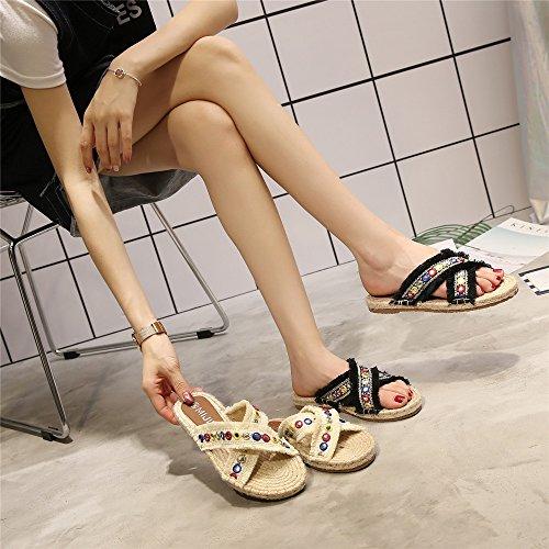 piatta Black slitta 40 per a in per la Angel casa all'aperto Size Pantofole Pantofole EU l'estate Color lino love Pantofole White a slitta beauty w1qxIXH
