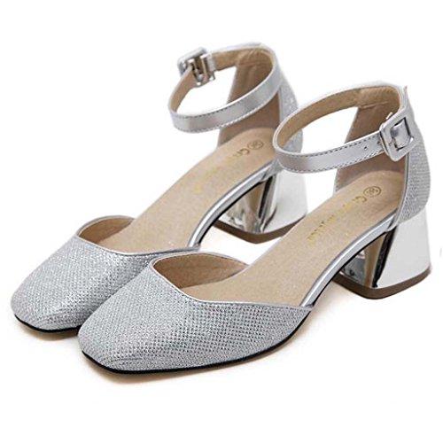 SHEO sandalias de tacón alto Hebilla de palabra de las señoras con lentejuelas gruesas con los zapatos huecos boca baja La Plata