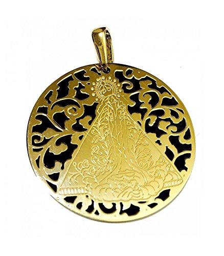 Médaille Vierge de la santé Argent Plaqué Or et Onix 40mm
