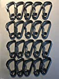 20 Pieces Stainless Steel 316 Spring Hook Carabiner 1/4'' (6mm) Marine Grade Safety Clip