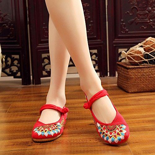 Étnico Cómodo Tendón Zapatos Zapatos De El Mujeres Gamuza En Casual Mn Bordado Suela Aumento Rojo Estilo Moda 4q8wxAHfS