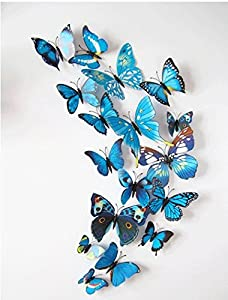 picture of Mr.S Shop 12 Pcs/Lot PVC 3D DIY Butterfly Wall Stickers Home Decor Poster for Kitchen Bathroom Fridge Adhesive to Wall Decals Decoration (Colorful - Blue)