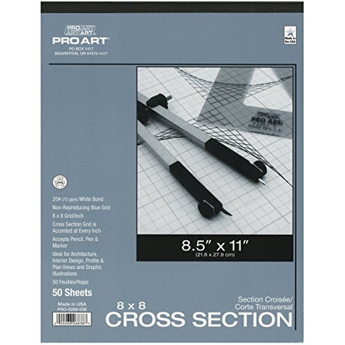 Graph Material - Pro Art 8-1/2-Inch by 11-Inch Cross Section Paper Pad, 8 Squares per Inch