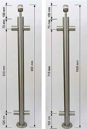 L/änge 100 cm mit 2 Pfosten und 3 Querstreben Seitenabstand 50mm Gel/änder f/ür seitliche Montage an Treppe Balkon und Terrasse mit waagerechte Querstreben bis 6m am St/ück Variante