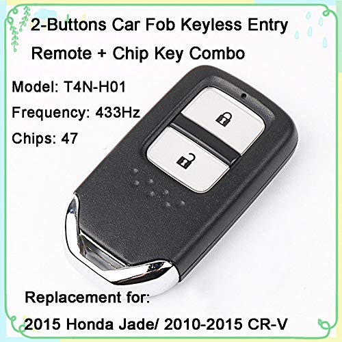 - 1 Sets 2-Buttons 433Hz Car Fob Keyless Entry Intelligent Smart Card Alarm Key Remote Control & Uncut 47 Chips Key Combo Replacement for Original Honda New Fit 2015 XRV Vezel