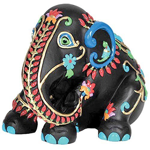 Westland Giftware Elephant Parade Resin Figurine in Tin Window Box, Black Taj, 4.5-Inch by Westland Giftware