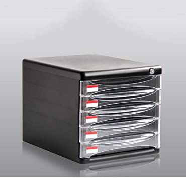 AGWa Archivador 5 ° piso con cerradura Cajón de escritorio A4 Caja de almacenamiento Plástico Negro Archivadores que vale la pena tener: Amazon.es: Bricolaje y herramientas