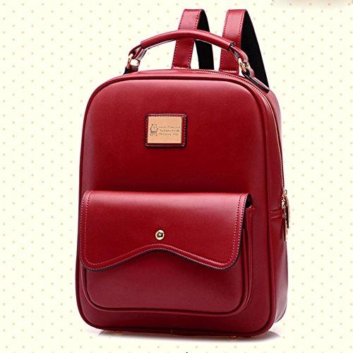 Bolso Mochila Universidad Británico Hombro DELEY Bolsa Rojo Totalizador De La Estilo Mujere Iw5av6