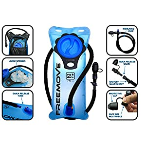 2L Hydration Pack Water Bladder & Cleaning Kit | BEST CHOICE TO STAY HYDRATED | Leak Proof Water Reservoir | Large Opening | Tasteless & BPA Free TPU Material | Quick Release TPU Tube & Shutoff Valve