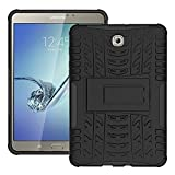 DWay Case Samsung Tab S2 8.0 T710 Hybrid Armor Design with Stand Feature Detachable Dual Layer Protective Shell Hard Back Cover Case for Samsung Galaxy Tab S2 8.0inches Tablet T710 (Black)