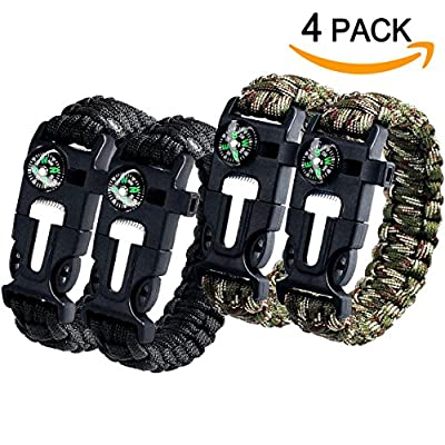 Aootech Paracord Bracelet Kit Outdoor Survival Bracelet Camping Hiking Gear with Compass, Fire Starter, Whistle And Emergency Knife, Pack of 4 by Aootech