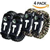 Aootech Paracord Bracelet Kit Outdoor Survival Bracelet Camping Hiking Gear with Compass, Fire Starter, Whistle And Emergency Knife, Pack of 4 Reviews