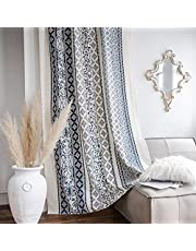 Lahome Boho Cotton Linen Window Curtains Set of 2,Blue White Floral Geometric Print Curtain Panels,Rod Pocket Semi Blackout Country Style Window Treatment for Living Dining Room