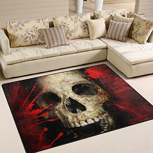 Naanle Sugar Skull Area Rug 5'x7', Skull and Blood on The Vintage Background Polyester Area Rug Mat for Living Dining Dorm Room Bedroom Home Decorative ()
