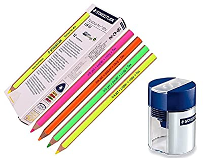 Staedtler Textsurfer Dry Highlighter Pencil for Writing Sketching Inkjet, paper, copy,fax (pack of 12)color Mix + Tub 2-Hole Sharpener