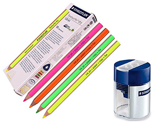 Staedtler Textsurfer Dry Highlighter Pencil for Writing Sketching Inkjet, paper, copy,fax (pack of 12)color Mix + Tub 2-Hole Sharpener ()