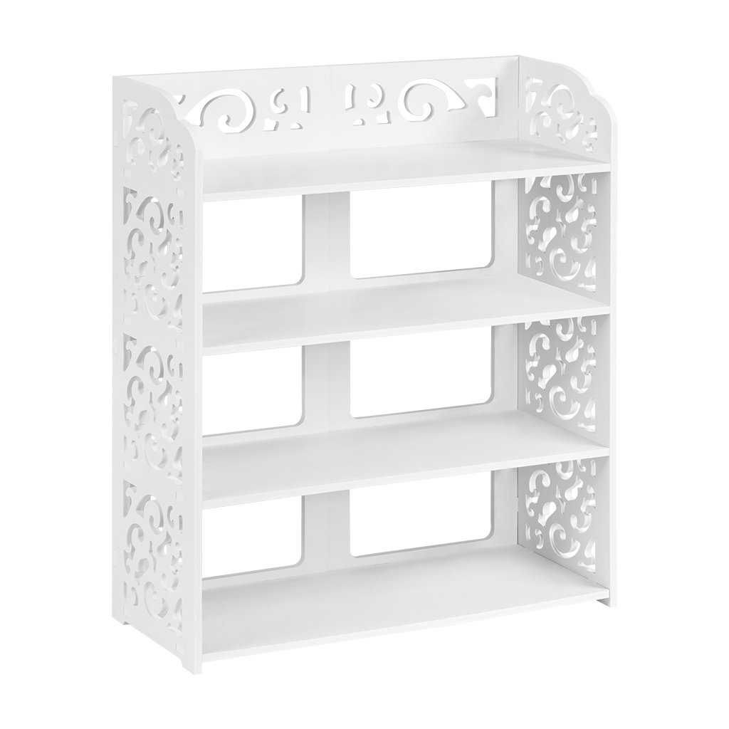 Finether 4-Tier Baroque Style Display Shoe Rack Shelving Units Modular Wood Plastic Composite, Shoe Shelf Storage Shelving Organizer for Home, Decorative Shelves, Magazine Storage, White