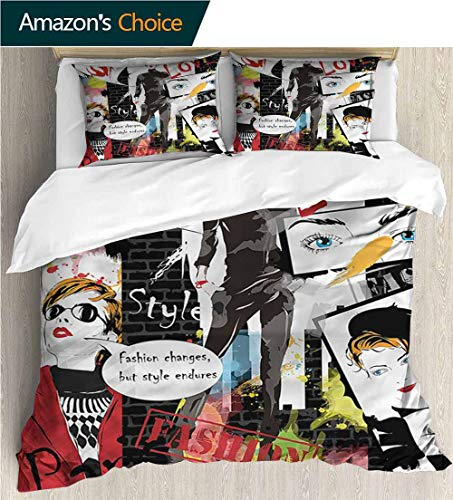 (Home Duvet Cover Set,Box Stitched,Soft,Breathable,Hypoallergenic,Fade Resistant Print Quilt Cover Set White Queen Pattern Bedding Collection-Girls Glamour Fashion Magazine Lady (87