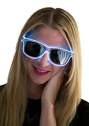 Neon Nightlife White Frame/Slightly Tinted Lens Wayfarer 55mm Light Up Glasses