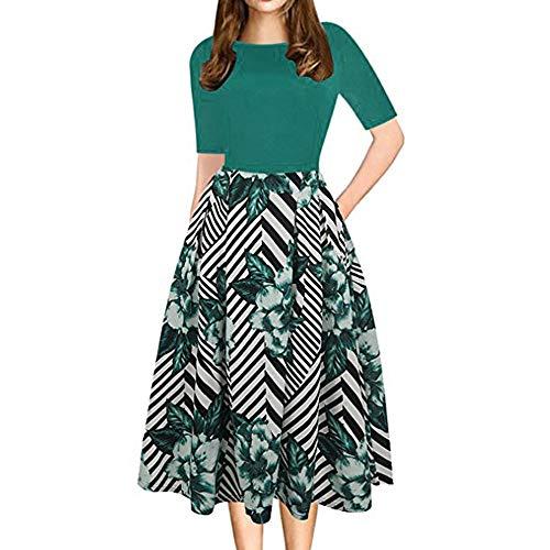 TIREOW Damen Kleid Kurzarm Slim Fit T-Shirtkleid Casual Tops Kleider
