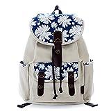 Douguyan Women Floral Print Casual Canvas Backpack Rucksack Classical School Backpacks Beige 137