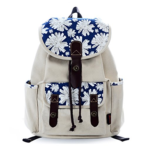 Floral Cute Backpack Backpack Canvas Rucksack Douguyan Print School Women Beige Casual 75CwHWqnfR