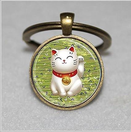 Llavero de gato de la suerte, verde Maneki Neko, llavero de ...