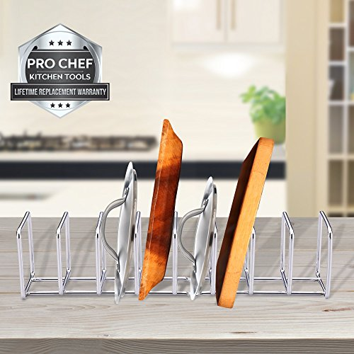 Large Product Image of Pro Chef Kitchen Tools Stainless Steel Pot Lid Organizer - Keep Your Cabinents Organized with Metal Vertical Storage Shelf To Hold Pan Lids, Plates, Dishes, Cutting Boards