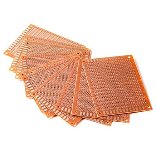 PIXNOR 7*9 cm Solder Finished Prototype PCB for DIY Circuit Board Breadboard Pack of 10