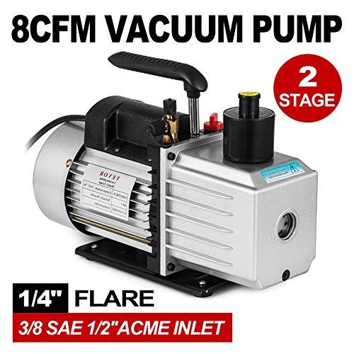 VEVOR Vacuum Pump 8CFM 1HP Two Stage HVAC Rotary Vane Vacuum Pump Wine Degassing Milking Medical Food Processing Air Conditioning Auto AC Refrigerant Vacuum Pump (2-Stage, 8CFM) by VEVOR (Image #1)