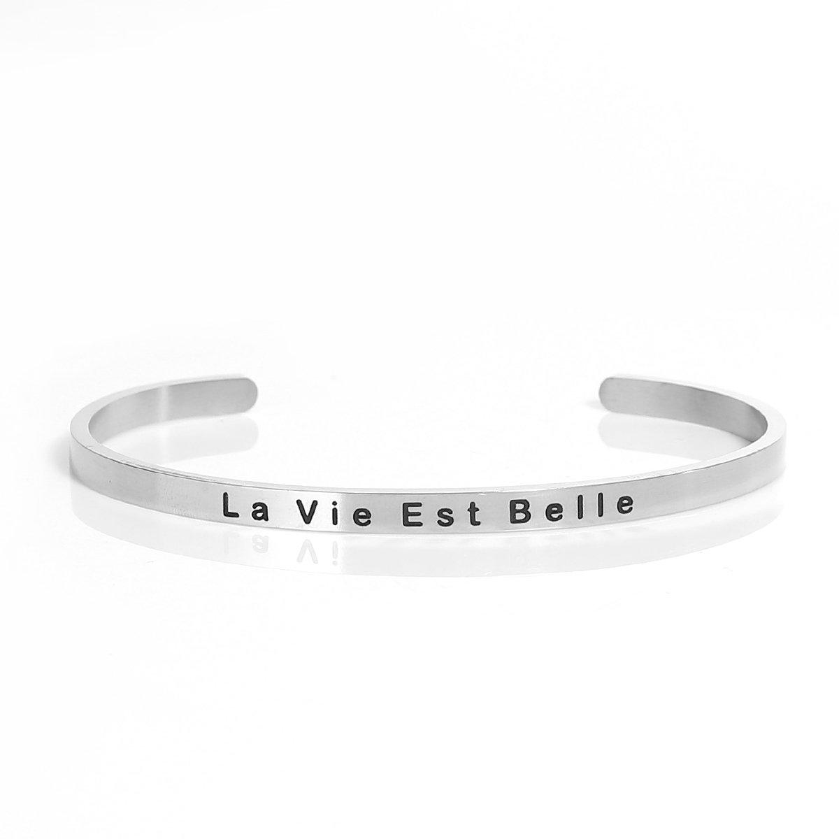 Sexy Sparkles Stainless Steel La Vie Est Belle Life Is Beautiful Positive Quotes Energy Open Cuff Bangle Bracelet 4745