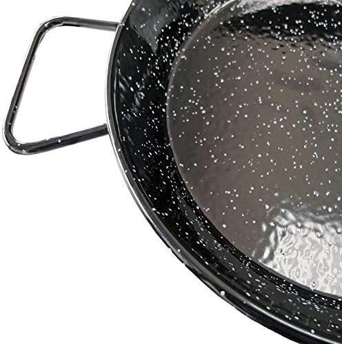 Menax - Poêle à paella Kit Valenciana en acier émaillé vitrifié * Gaz Four Barbecue * + Cuillère Service Inox 18/10 4 Personas - 30 cm