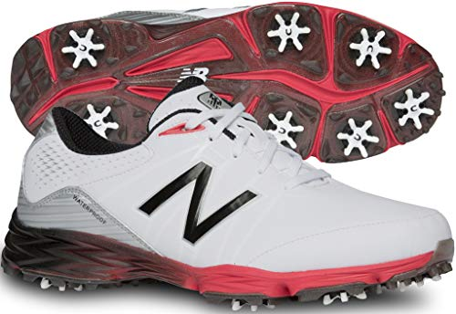 New Balance Men's NBG2004 Waterproof Spiked Comfort Golf Shoe, White/Red, 10 M US