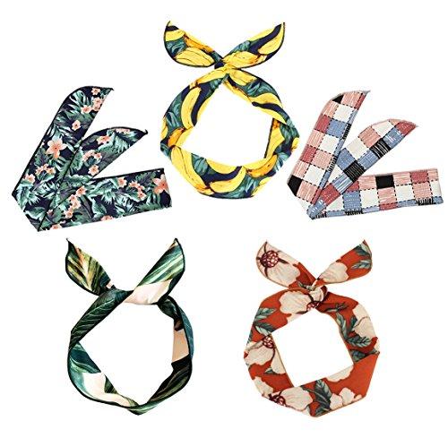 Boho Headbands for Women Wire Wrap Girls Floral Flower Hairband Bunny Ears Adjustable DIY Fashion Leaf Hair Holder(Set E 5pcs) - Floral Bunny