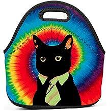 Alxosla Black Cat with A Tie Neoprene Lunch Tote Bag Waterproof Insulated Thermal Cooler Lunch Bag Portable Lunchbox Outdoor School Work Handbag for Men Women Boys Girls