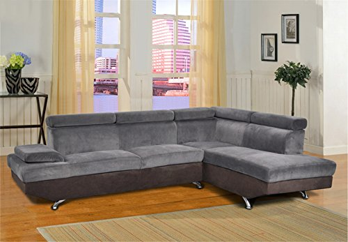 Lifestyle Furniture Genoa Right Hand Facing Sectional Sofa, Dark Gray/Black