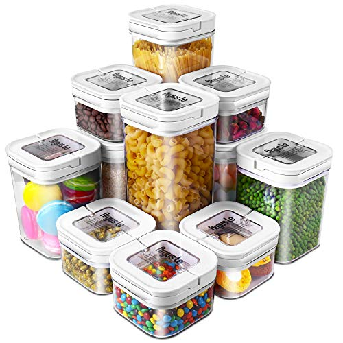 Airtight Food Storage Containers, Argus Le 11 Pieces BPA Free Plastic Cereal Containers, for Kitchen Pantry Organization and Storage