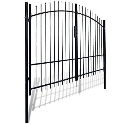 Garden Gate Driveway Gate Dual Swing Steel Arched, 10'W x 8'H, Black