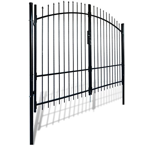 Garden Gate Driveway Gate Dual Swing Steel Arched, 10'W x 8'H, Black (Gate Arched Door Iron)