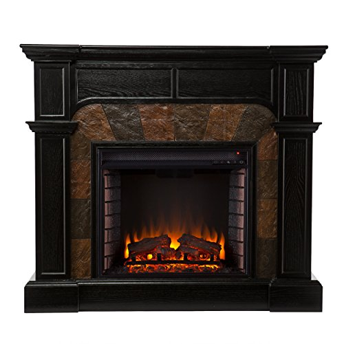 Cartwright Convertible Electric Fireplace - Ebony (Electric Black Wood Fireplace compare prices)