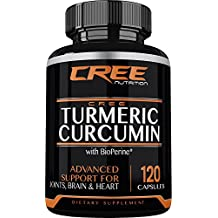 CREE Nutrition Turmeric Curcumin with Bioperine and 95% curcuminoids - Anti-Inflammatory, Antioxidant & Anti-Aging - 120 capsules - Made in the USA