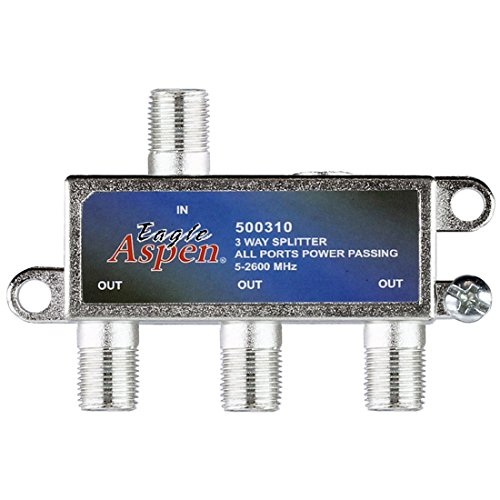 (3-Way 5-2600 MHz Satellite Splitter 2 GHz All Port DC Power Passing Low and High Frequency Off-Air Signal UHF/VHF Video)
