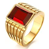 Michelle Mens 14mm Gold Plated Stainless Steel Ring Square Red AAA Cubic Zirconia Rings,size 8