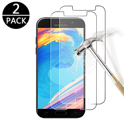 [2-Pack] Zom Tempered Glass Screen Protector for Samsung Galaxy A5 2017, Anti-Scratch, Full Screen Coverage, 9H Hardness Anti-Fingerprint, Screen Protector Film for Samsung Galaxy A5 2017