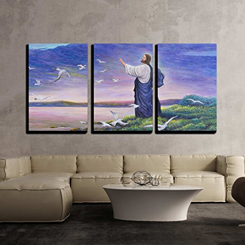 vas Wall Art - Image of Jesus Feeding the Birds at the Seaside, Original Oil Painting on Canvas - Modern Home Decor Stretched and Framed Ready to Hang - 24