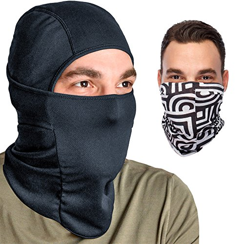 Balaclava Coolmax Motorcycle Facemask: Full Ski Mask + Versatile Headband - Neck Ear Warmer - Tactical Balaclava Hood