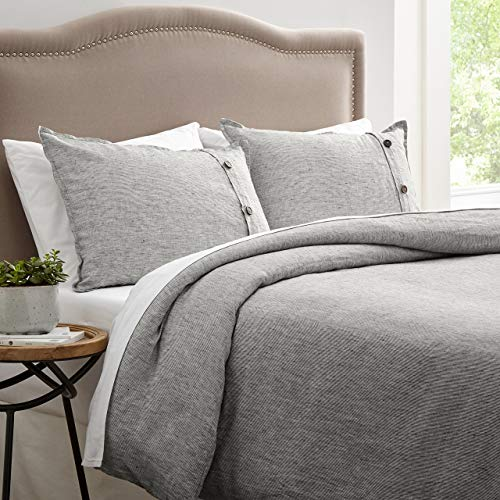 Stone & Beam Wooden Button 100% Linen Duvet Cover Set, Easy Care, Full/Queen, Grey ()