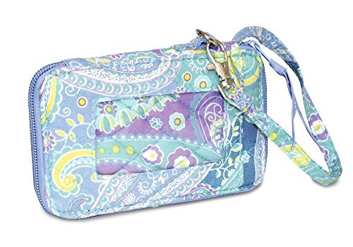 Quilted Fabric Cell Phone Purse Wristlet (Aqua - Hours Vero Outlets